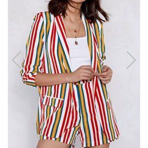 Jackets & Blazers - Blazer & Shorts: 2-FOR-1 Striped Set